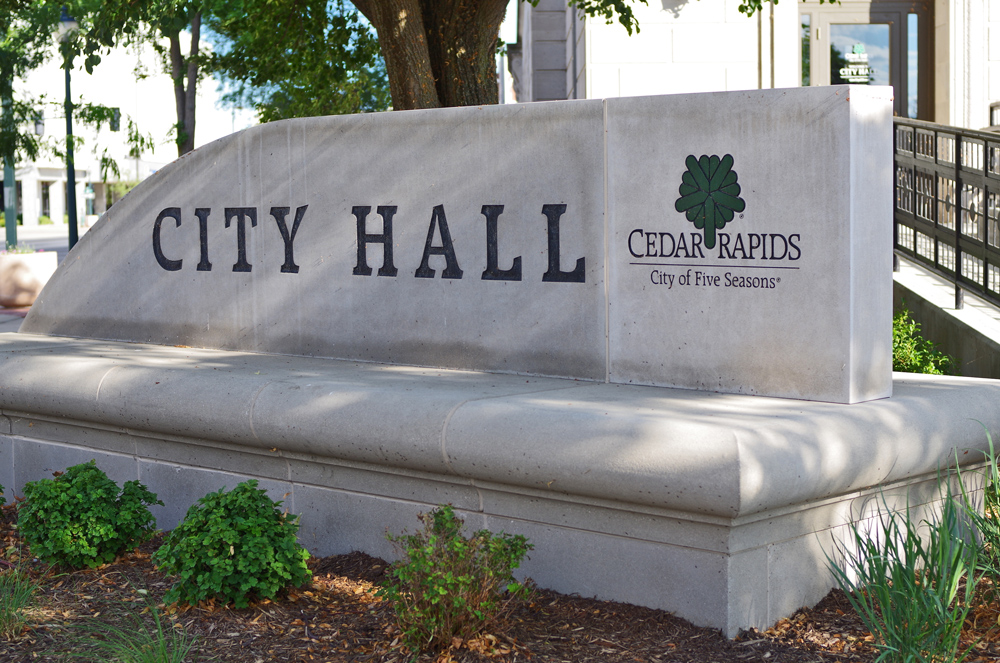 Cedar Rapids City Hall monument sign